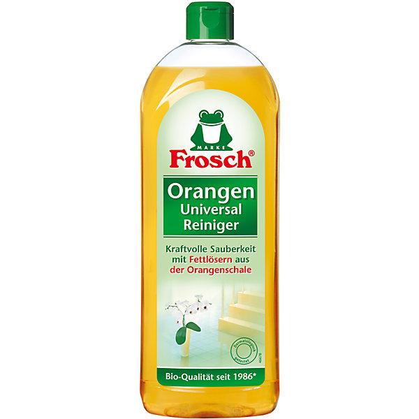 Универсальный апельсиновый очиститель, 0,75 л., FroschБытовая химия<br>Характеристики товара:<br><br>• объем: 750 мл<br>• упаковка: пластик<br>• страна бренда: Германия<br>• страна изготовитель: Германия<br><br>Frosch - мировой лидер по производству чистящих средств, основанный в Германии. Отличительная особенность жидкостей – их безопасность и экологичность. Универсальное средство помогает хозяйкам поддерживать чистоту в доме без особых усилий и затрат. <br><br>Химическая формула растворяет сложные загрязнения и придает цитрусовый аромат. Материалы, использованные при изготовлении товара, сертифицированы и отвечают всем международным требованиям по качеству. <br><br>Универсальный апельсиновый очиститель, 0,75 л, от немецкого производителя Frosch (Фрош) можно приобрести в нашем интернет-магазине.<br>Ширина мм: 85; Глубина мм: 53; Высота мм: 258; Вес г: 838; Возраст от месяцев: 216; Возраст до месяцев: 1188; Пол: Унисекс; Возраст: Детский; SKU: 5185726;