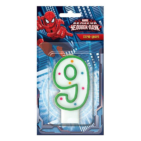 Веселый праздник Свеча-цифра 9, Человек-паук