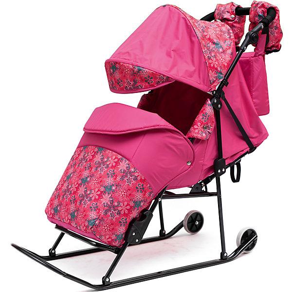 Санки-коляска ABC Academy Зимняя сказка 3В Авто, черная рама, розовый/снежинки