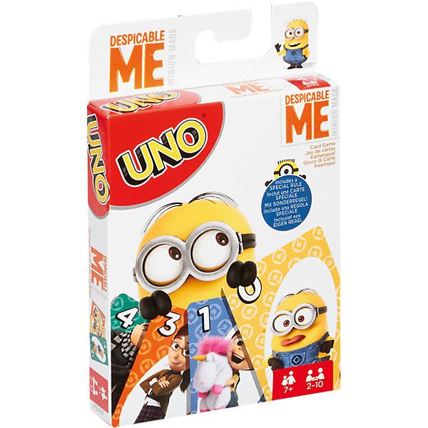 Игра  УНО Гадкий Я 3, Mattel GamesНастольные игры для всей семьи<br>Игра УНО Гадкий Я 3, Mattel Games (Маттел Геймс)<br><br>Характеристики:<br><br>• специальные карты для любителей Миньонов<br>• количество игроков: 2-10<br>• время игры: от 20 минут<br>• в комплекте: карты, инструкция<br>• размер упаковки: 9,2х14,6х1.9 см<br>• вес: 118 грамм<br><br>Уно - интересная игра для детей и взрослых. Правила игры очень просты. Каждые игрок получает по нескольку карт, остальные кладут на стол рубашкой вверх, составляя колоду Прикуп. Одна карта переворачивается и представляет собой начало колоды Сброс. Игроки по очереди могут избавиться от одной своей карты. Это можно сделать если одна из ваших карт совпадает по цвету, цифре или картинке с картой Сброс. Или можно достать одну карту из колоды Прикуп, и если она совпадает - отложить. Если же карта не подходит - вы забираете ее себе. Игра заканчивается, когда один из игроков сбрасывает все карты. <br><br>Карты Уно Гадкий Я 3 имеют изображения персонажей мультфильма. Забавные миньоны поднимут настроение и, конечно же, помогут победить!<br><br>Игра УНО Гадкий Я 3, Mattel Games (Маттел Геймс) вы можете купить в нашем интернет-магазине.<br>Ширина мм: 144; Глубина мм: 96; Высота мм: 22; Вес г: 178; Возраст от месяцев: 84; Возраст до месяцев: 156; Пол: Унисекс; Возраст: Детский; SKU: 5204092;