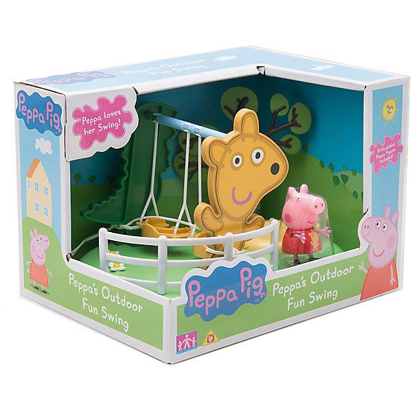 Игровой набор Площадка Качели, Peppa PigИгрушки<br>Игровой набор Площадка Качели, Peppa Pig (Пеппа Пиг).<br><br>Характеристики:<br><br>• Размер: 21X16X15 см.<br>• Цвет: разноцветный.<br>• Материал: пластик.<br><br>Игровой набор Площадка Качели, Peppa Pig (Пеппа Пиг) создан по мотивам популярного мультфильма про Свинку Пеппу. Этот яркий игровой набор сразу же привлечет внимание детей и разнообразит их досуг тематическими играми по мотивам любимого мультфильма. Он представляет собой  площадку с зеленой цветочной лужайкой, на которой расположены качели с дырочками на сиденьях - для фиксации фигурок. Качели могут раскачиваться. Снизу у игрушки имеются специальные приспособления, которые по типу пазлов позволяют присоединить эту площадку к другим подобным из этой серии: Качели-качалка, Горка.  В данный набор входит площадка с качелями и фигурка Свинки Пеппы (5 см). Порадуйте своего малыша, подарив ему такой замечательный набор!<br><br>Игровой набор Площадка Качели, Peppa Pig (Пеппа Пиг), можно купить в нашем интернет- магазине.<br>Ширина мм: 212; Глубина мм: 160; Высота мм: 150; Вес г: 320; Возраст от месяцев: 36; Возраст до месяцев: 2147483647; Пол: Унисекс; Возраст: Детский; SKU: 5211668;
