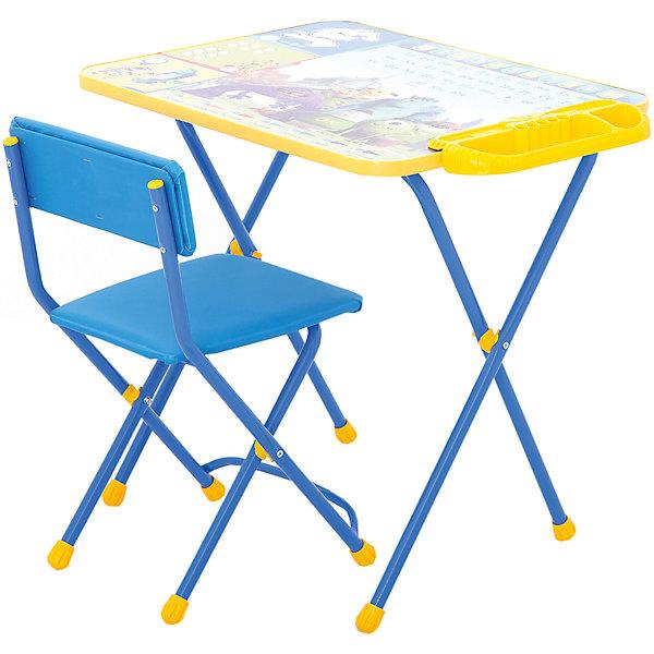 Набор мебели Д2У, Университет Монстров, НикаДетские столы и стулья<br>Характеристики товара:<br><br>• материал: металл, пластик, текстиль<br>• размер столешницы: 60х45 см<br>• высота стола: 58 см<br>• сиденье: 31х27 см<br>• высота до сиденья: 32 см<br>• высота со спинкой 57 см<br>• подставка для ног<br>• стул с мягким сиденьем (флок)<br>• пенал<br>• складной<br>• на столешнице - полезные рисунки<br>• на ламинированной поверхности стола можно рисовать маркером на водной основе<br>• на ножках пластмассовые наконечники<br>• складной<br>• возраст: от 3 до 7 лет<br>• страна бренда: Российская Федерация<br>• страна производства: Российская Федерация<br><br>Детская мебель может быть удобной и эргономичной! Этот комплект разработан специально для детей от трех до семи лет. Он легко складывается и раскладывается, занимает немного места, легко моется. Каркас сделан из прочного, но легкого металла, а на ножках установлены пластмассовые наконечники для защиты напольного покрытия. Столешница украшена полезными познавательными рисунками. Отличное решение как для кормления малыша, так и для игр, творчества и обучения!<br>Правильно подобранная мебель помогает ребенку расти здоровым, формироваться правильной осанке. Изделие производится из качественных сертифицированных материалов, безопасных даже для самых маленьких.<br><br>Набор мебели Disney 2. Университет Монстров от бренда Ника можно купить в нашем интернет-магазине.<br>Ширина мм: 750; Глубина мм: 615; Высота мм: 160; Вес г: 7700; Возраст от месяцев: 36; Возраст до месяцев: 84; Пол: Унисекс; Возраст: Детский; SKU: 5223616;