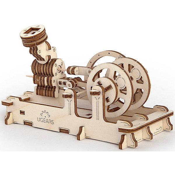 Пневматический двигатель, UGEARSДеревянные модели<br>Когда-то было время больших паровых машин, которые всех  приводили в изумление своей невиданной силой и шумной работой.<br>Пневматический двигатель UGEARS небольшой, но точный аналог паровых машин. Чтобы он заработал достаточно подуть в специальный раструб или же запустить двигатель от обычного воздушного шарика.  Необычно то, что модель выполнена полностью из древесных материалов. Конструкция имеет воздушный тахометр и два пенала для мелочей. <br>Модель для самостоятельной сборки без клея.<br><br>Размер модели: 162*78*100мм<br>Размер упаковки: 37*14*3см<br>Количество деталей: 81<br>Расчетное время сборки: 2-3 часа<br>Ширина мм: 377; Глубина мм: 139; Высота мм: 32; Вес г: 322; Возраст от месяцев: 168; Возраст до месяцев: 216; Пол: Мужской; Возраст: Детский; SKU: 5226403;