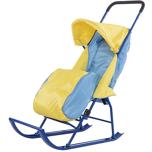 Купить Санки-коляска Малышок 1, Galaxy, желтый/голубой, Россия, blau/gelb, Унисекс