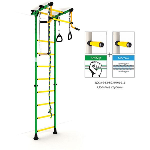 Шведская лестница Комета-2, зеленый-желтыйШведские стенки<br>Шведская стенка с креплениями в распор (между полом и потолком) - одна из самых популярных моделей. Благодаря креплению, не требующему сверления поверхностей, домашний спортивный комплекс быстро устанавливается и позволяет легко менять место установки в комнате. В комплекте: лестница гимнастическая, турник неподвижный, кольца гимнастические, трапеция, канат.<br>Ширина мм: 1160; Глубина мм: 535; Высота мм: 140; Вес г: 27000; Возраст от месяцев: 36; Возраст до месяцев: 192; Пол: Унисекс; Возраст: Детский; SKU: 5251538;