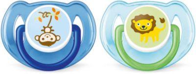 Силиконова пустышка Classic, 6-18 мес., 2 шт., Philips Avent, синий/голубой (SCF197/22), артикул:5253035 - Уход и гигиена