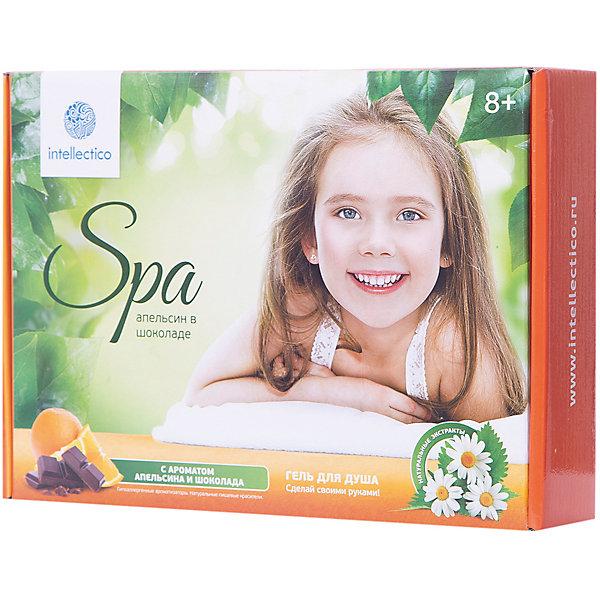 Малый набор Гель для душа Апельсин в шоколадеНаборы детской косметики<br>Этот набор позволяет изготовить два косметических продукта: апельсиновый и шоколадный гели для душа . Какой именно ароматизированный краситель использовать - зависит от вашего настроения. Оранжевый апельсин - дивный, бодрящий и свежий, Темный шоколад - расслабляющий, теплый и нежный.   Процесс изготовления геля - увлекательное творчество, которое доставит не меньше удовольствия, чем использование готового продукта. У вас получится свежайшая косметика, обладающая увлажняющими и смягчающими кожу свойствами. Специально для хранения геля в наборе имеется удобная бутылочка-дозатор.   Возраст: 8+<br>Ширина мм: 285; Глубина мм: 210; Высота мм: 60; Вес г: 710; Возраст от месяцев: 48; Возраст до месяцев: 180; Пол: Женский; Возраст: Детский; SKU: 5263171;