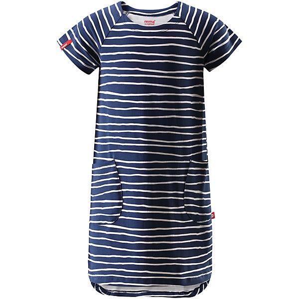 Платье для девочки ReimaОдежда<br>Характеристики товара:<br><br>• цвет: тёмно-синий<br>• состав: 95% хлопок, 5% эластан<br>• удобный эластичный материал<br>• трапециевидный силуэт<br>• два накладных кармана<br>• страна бренда: Финляндия<br>• страна производства: Китай<br><br>Одежда может быть модной и комфортной одновременно! Удобное симпатичное платье поможет обеспечить ребенку комфорт - оно не стесняет движения и удобно сидит. Стильный дизайн разрабатывался специально для детей.<br><br>Уход:<br><br>• стирать и гладить, вывернув наизнанку<br>• стирать с бельем одинакового цвета<br>• стирать моющим средством, не содержащим отбеливающие вещества<br>• полоскать без специального средства<br>• придать первоначальную форму вo влажном виде.<br><br>Платье для девочки от финского бренда Reima (Рейма) можно купить в нашем интернет-магазине.<br>Ширина мм: 236; Глубина мм: 16; Высота мм: 184; Вес г: 177; Цвет: синий; Возраст от месяцев: 84; Возраст до месяцев: 96; Пол: Женский; Возраст: Детский; Размер: 128,140,104,110,116,122,134; SKU: 5268166;
