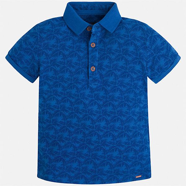 Футболка-поло для мальчика MayoralФутболки, поло и топы<br>Характеристики товара:<br><br>• цвет: синий<br>• состав: 100% хлопок<br>• отложной воротник<br>• короткие рукава<br>• застежка: пуговицы<br>• материал с орнаментом<br>• страна бренда: Испания<br><br>Удобная и модная футболка-поло для мальчика может стать базовой вещью в гардеробе ребенка. Она отлично сочетается с брюками, шортами, джинсами и т.д. Универсальный крой и цвет позволяет подобрать к вещи низ разных расцветок. Практичное и стильное изделие! В составе материала - только натуральный хлопок, гипоаллергенный, приятный на ощупь, дышащий.<br><br>Одежда, обувь и аксессуары от испанского бренда Mayoral полюбились детям и взрослым по всему миру. Модели этой марки - стильные и удобные. Для их производства используются только безопасные, качественные материалы и фурнитура. Порадуйте ребенка модными и красивыми вещами от Mayoral! <br><br>Футболку-поло для мальчика от испанского бренда Mayoral (Майорал) можно купить в нашем интернет-магазине.<br>Ширина мм: 230; Глубина мм: 40; Высота мм: 220; Вес г: 250; Цвет: синий; Возраст от месяцев: 72; Возраст до месяцев: 84; Пол: Мужской; Возраст: Детский; Размер: 122,92,98,104,110,116,128,134; SKU: 5272036;