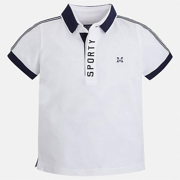 Футболка-поло для мальчика MayoralФутболки, поло и топы<br>Характеристики товара:<br><br>• цвет: белый<br>• состав: 95% хлопок, 5% эластан<br>• отложной воротник<br>• короткие рукава<br>• застежка: пуговицы<br>• декорирована принтом<br>• страна бренда: Испания<br><br>Стильная футболка-поло для мальчика может стать базовой вещью в гардеробе ребенка. Она отлично сочетается с брюками, шортами, джинсами и т.д. Универсальный крой и цвет позволяет подобрать к вещи низ разных расцветок. Практичное и стильное изделие! В составе материала - натуральный хлопок, гипоаллергенный, приятный на ощупь, дышащий.<br><br>Одежда, обувь и аксессуары от испанского бренда Mayoral полюбились детям и взрослым по всему миру. Модели этой марки - стильные и удобные. Для их производства используются только безопасные, качественные материалы и фурнитура. Порадуйте ребенка модными и красивыми вещами от Mayoral! <br><br>Футболку-поло для мальчика от испанского бренда Mayoral (Майорал) можно купить в нашем интернет-магазине.<br>Ширина мм: 230; Глубина мм: 40; Высота мм: 220; Вес г: 250; Цвет: белый; Возраст от месяцев: 18; Возраст до месяцев: 24; Пол: Мужской; Возраст: Детский; Размер: 92,122,128,98,104,110,116,134; SKU: 5272054;