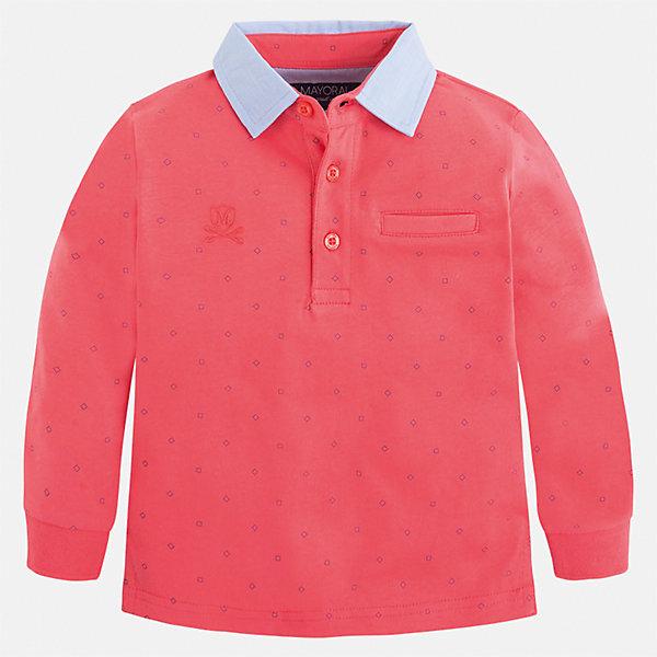 Футболка-поло с длинным рукавом для мальчика MayoralФутболки с длинным рукавом<br>Характеристики товара:<br><br>• цвет: розовый<br>• состав: 100% хлопок<br>• отложной воротник<br>• длинные рукава<br>• застежка: пуговицы<br>• декорирована принтом<br>• страна бренда: Испания<br><br>Стильная рубашка-поло для мальчика может стать базовой вещью в гардеробе ребенка. Она отлично сочетается с брюками, шортами, джинсами и т.д. Универсальный крой и цвет позволяет подобрать к вещи низ разных расцветок. Практичное и стильное изделие! В составе материала - только натуральный хлопок, гипоаллергенный, приятный на ощупь, дышащий.<br><br>Одежда, обувь и аксессуары от испанского бренда Mayoral полюбились детям и взрослым по всему миру. Модели этой марки - стильные и удобные. Для их производства используются только безопасные, качественные материалы и фурнитура. Порадуйте ребенка модными и красивыми вещами от Mayoral! <br><br>Рубашку-поло для мальчика от испанского бренда Mayoral (Майорал) можно купить в нашем интернет-магазине.<br>Ширина мм: 230; Глубина мм: 40; Высота мм: 220; Вес г: 250; Цвет: розовый; Возраст от месяцев: 18; Возраст до месяцев: 24; Пол: Мужской; Возраст: Детский; Размер: 92,134,98,104,110,116,122,128; SKU: 5272090;