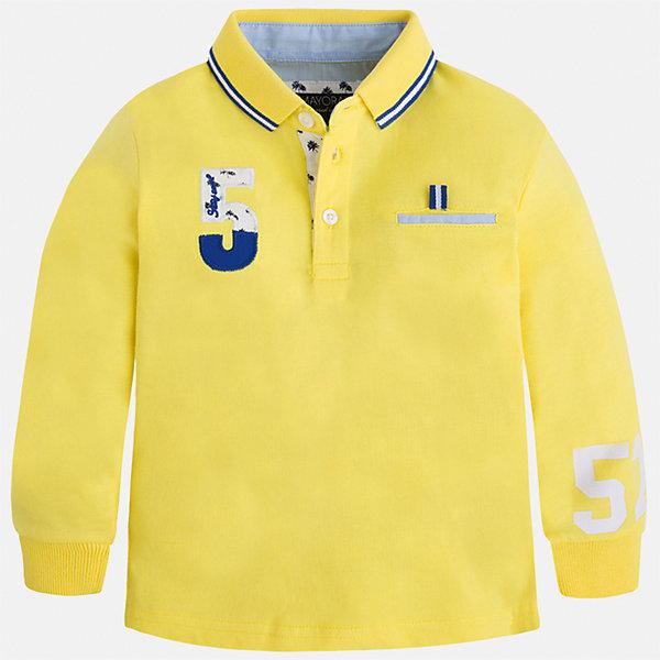 Футболка-поло с длинным рукавом для мальчика MayoralФутболки с длинным рукавом<br>Характеристики товара:<br><br>• цвет: желтый<br>• состав: 100% хлопок<br>• отложной воротник<br>• длинные рукава<br>• застежка: пуговицы<br>• декорирована принтом<br>• страна бренда: Испания<br><br>Стильная рубашка-поло для мальчика может стать базовой вещью в гардеробе ребенка. Она отлично сочетается с брюками, шортами, джинсами и т.д. Универсальный крой и цвет позволяет подобрать к вещи низ разных расцветок. Практичное и стильное изделие! В составе материала - только натуральный хлопок, гипоаллергенный, приятный на ощупь, дышащий.<br><br>Одежда, обувь и аксессуары от испанского бренда Mayoral полюбились детям и взрослым по всему миру. Модели этой марки - стильные и удобные. Для их производства используются только безопасные, качественные материалы и фурнитура. Порадуйте ребенка модными и красивыми вещами от Mayoral! <br><br>Рубашку-поло для мальчика от испанского бренда Mayoral (Майорал) можно купить в нашем интернет-магазине.<br>Ширина мм: 230; Глубина мм: 40; Высота мм: 220; Вес г: 250; Цвет: желтый; Возраст от месяцев: 18; Возраст до месяцев: 24; Пол: Мужской; Возраст: Детский; Размер: 92,110,116,122,134,128,104,98; SKU: 5272180;