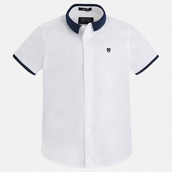 Рубашка для мальчика MayoralБлузки и рубашки<br>Характеристики товара:<br><br>• цвет: белый<br>• состав: 100% хлопок<br>• отложной воротник<br>• короткие рукава<br>• застежка: пуговицы<br>• вышивка на груди<br>• страна бренда: Испания<br><br>Стильная рубашка для мальчика может стать базовой вещью в гардеробе ребенка. Она отлично сочетается с брюками, шортами, джинсами и т.д. Универсальный крой и цвет позволяет подобрать к вещи низ разных расцветок. Практичное и стильное изделие! В составе материала - только натуральный хлопок, гипоаллергенный, приятный на ощупь, дышащий.<br><br>Одежда, обувь и аксессуары от испанского бренда Mayoral полюбились детям и взрослым по всему миру. Модели этой марки - стильные и удобные. Для их производства используются только безопасные, качественные материалы и фурнитура. Порадуйте ребенка модными и красивыми вещами от Mayoral! <br><br>Рубашку для мальчика от испанского бренда Mayoral (Майорал) можно купить в нашем интернет-магазине.<br>Ширина мм: 174; Глубина мм: 10; Высота мм: 169; Вес г: 157; Цвет: белый; Возраст от месяцев: 24; Возраст до месяцев: 36; Пол: Мужской; Возраст: Детский; Размер: 110,116,128,134,98,122,92,104; SKU: 5272270;