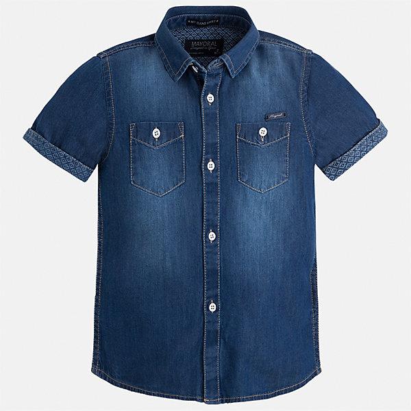 Рубашка джинсовая для мальчика MayoralБлузки и рубашки<br>Характеристики товара:<br><br>• цвет: синий<br>• состав: 100% хлопок<br>• отложной воротник<br>• короткие рукава<br>• застежка: пуговицы<br>• карманы на груди<br>• страна бренда: Испания<br><br>Стильная рубашка для мальчика может стать базовой вещью в гардеробе ребенка. Она отлично сочетается с брюками, шортами, джинсами и т.д. Универсальный крой и цвет позволяет подобрать к вещи низ разных расцветок. Практичное и стильное изделие! В составе материала - только натуральный хлопок, гипоаллергенный, приятный на ощупь, дышащий.<br><br>Одежда, обувь и аксессуары от испанского бренда Mayoral полюбились детям и взрослым по всему миру. Модели этой марки - стильные и удобные. Для их производства используются только безопасные, качественные материалы и фурнитура. Порадуйте ребенка модными и красивыми вещами от Mayoral! <br><br>Рубашку для мальчика от испанского бренда Mayoral (Майорал) можно купить в нашем интернет-магазине.<br>Ширина мм: 174; Глубина мм: 10; Высота мм: 169; Вес г: 157; Цвет: синий; Возраст от месяцев: 84; Возраст до месяцев: 96; Пол: Мужской; Возраст: Детский; Размер: 128,134,110,92,98,104,116,122; SKU: 5272288;
