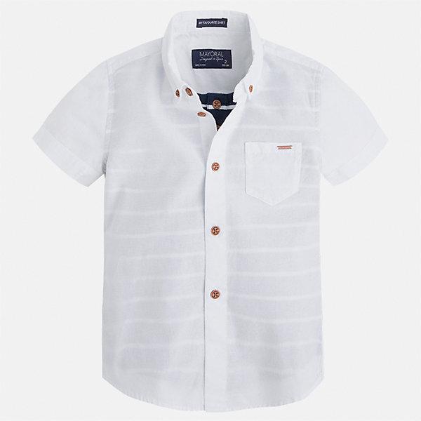 Рубашка для мальчика MayoralБлузки и рубашки<br>Характеристики товара:<br><br>• цвет: белый<br>• состав: 100% хлопок<br>• отложной воротник<br>• короткие рукава<br>• застежка: пуговицы<br>• карман на груди<br>• страна бренда: Испания<br><br>Стильная рубашка для мальчика может стать базовой вещью в гардеробе ребенка. Она отлично сочетается с брюками, шортами, джинсами и т.д. Универсальный крой и цвет позволяет подобрать к вещи низ разных расцветок. Практичное и стильное изделие! В составе материала - только натуральный хлопок, гипоаллергенный, приятный на ощупь, дышащий.<br><br>Одежда, обувь и аксессуары от испанского бренда Mayoral полюбились детям и взрослым по всему миру. Модели этой марки - стильные и удобные. Для их производства используются только безопасные, качественные материалы и фурнитура. Порадуйте ребенка модными и красивыми вещами от Mayoral! <br><br>Рубашку для мальчика от испанского бренда Mayoral (Майорал) можно купить в нашем интернет-магазине.<br>Ширина мм: 174; Глубина мм: 10; Высота мм: 169; Вес г: 157; Цвет: белый; Возраст от месяцев: 18; Возраст до месяцев: 24; Пол: Мужской; Возраст: Детский; Размер: 92,134,104,98,110,116,122,128; SKU: 5272306;
