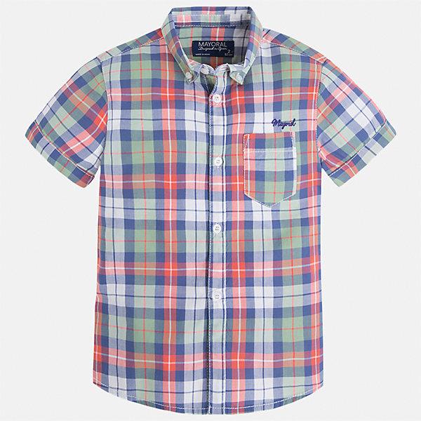 Рубашка для мальчика MayoralБлузки и рубашки<br>Характеристики товара:<br><br>• цвет: красный/синий/зеленый<br>• состав: 100% хлопок<br>• отложной воротник<br>• короткие рукава<br>• застежка: пуговицы<br>• вышивка и карман на груди<br>• страна бренда: Испания<br><br>Стильная рубашка для мальчика может стать базовой вещью в гардеробе ребенка. Она отлично сочетается с брюками, шортами, джинсами и т.д. Универсальный крой и цвет позволяет подобрать к вещи низ разных расцветок. Практичное и стильное изделие! В составе материала - только натуральный хлопок, гипоаллергенный, приятный на ощупь, дышащий.<br><br>Одежда, обувь и аксессуары от испанского бренда Mayoral полюбились детям и взрослым по всему миру. Модели этой марки - стильные и удобные. Для их производства используются только безопасные, качественные материалы и фурнитура. Порадуйте ребенка модными и красивыми вещами от Mayoral! <br><br>Рубашку для мальчика от испанского бренда Mayoral (Майорал) можно купить в нашем интернет-магазине.<br>Ширина мм: 174; Глубина мм: 10; Высота мм: 169; Вес г: 157; Цвет: голубой; Возраст от месяцев: 18; Возраст до месяцев: 24; Пол: Мужской; Возраст: Детский; Размер: 92,134,98,104,110,116,122,128; SKU: 5272324;