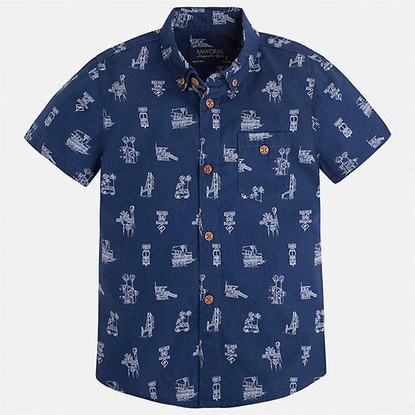 Рубашка для мальчика MayoralБлузки и рубашки<br>Характеристики товара:<br><br>• цвет: синий<br>• состав: 100% хлопок<br>• отложной воротник<br>• короткие рукава<br>• застежка: пуговицы<br>• карман на груди<br>• страна бренда: Испания<br><br>Стильная рубашка для мальчика может стать базовой вещью в гардеробе ребенка. Она отлично сочетается с брюками, шортами, джинсами и т.д. Универсальный крой и цвет позволяет подобрать к вещи низ разных расцветок. Практичное и стильное изделие! В составе материала - только натуральный хлопок, гипоаллергенный, приятный на ощупь, дышащий.<br><br>Одежда, обувь и аксессуары от испанского бренда Mayoral полюбились детям и взрослым по всему миру. Модели этой марки - стильные и удобные. Для их производства используются только безопасные, качественные материалы и фурнитура. Порадуйте ребенка модными и красивыми вещами от Mayoral! <br><br>Рубашку для мальчика от испанского бренда Mayoral (Майорал) можно купить в нашем интернет-магазине.<br>Ширина мм: 174; Глубина мм: 10; Высота мм: 169; Вес г: 157; Цвет: синий; Возраст от месяцев: 18; Возраст до месяцев: 24; Пол: Мужской; Возраст: Детский; Размер: 134,110,92,98,116,122,104,128; SKU: 5272342;