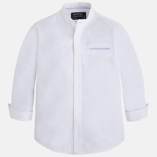 Рубашка для мальчика MayoralБлузки и рубашки<br>Характеристики товара:<br><br>• цвет: белый<br>• состав: 100% хлопок<br>• отложной воротник<br>• рукава с отворотами<br>• застежка: пуговицы<br>• карман на груди<br>• страна бренда: Испания<br><br>Удобная модная рубашка-поло для мальчика может стать базовой вещью в гардеробе ребенка. Она отлично сочетается с брюками, шортами, джинсами и т.д. Универсальный крой и цвет позволяет подобрать к вещи низ разных расцветок. Практичное и стильное изделие! В составе материала - только натуральный хлопок, гипоаллергенный, приятный на ощупь, дышащий.<br><br>Одежда, обувь и аксессуары от испанского бренда Mayoral полюбились детям и взрослым по всему миру. Модели этой марки - стильные и удобные. Для их производства используются только безопасные, качественные материалы и фурнитура. Порадуйте ребенка модными и красивыми вещами от Mayoral! <br><br>Рубашку-поло для мальчика от испанского бренда Mayoral (Майорал) можно купить в нашем интернет-магазине.<br>Ширина мм: 174; Глубина мм: 10; Высота мм: 169; Вес г: 157; Цвет: белый; Возраст от месяцев: 24; Возраст до месяцев: 36; Пол: Мужской; Возраст: Детский; Размер: 98,92,104,110,116,128,134,122; SKU: 5272396;