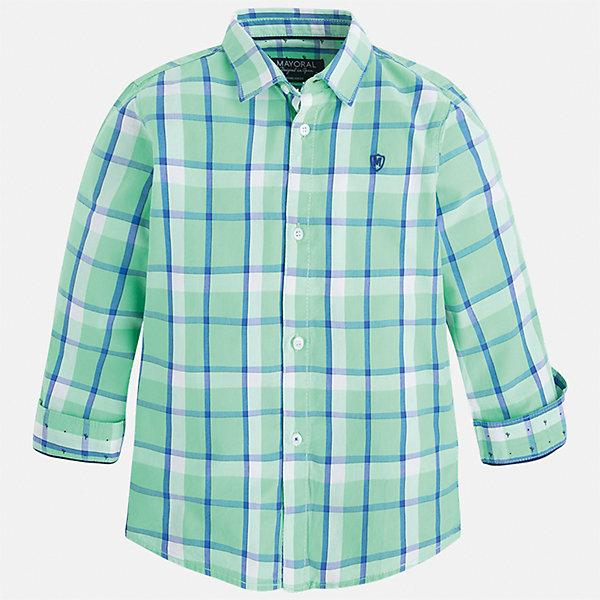 Рубашка для мальчика MayoralБлузки и рубашки<br>Характеристики товара:<br><br>• цвет: зеленый<br>• состав: 100% хлопок<br>• отложной воротник<br>• рукава с отворотами<br>• застежка: пуговицы<br>• вышивка на груди<br>• страна бренда: Испания<br><br>Удобная модная рубашка-поло для мальчика может стать базовой вещью в гардеробе ребенка. Она отлично сочетается с брюками, шортами, джинсами и т.д. Универсальный крой и цвет позволяет подобрать к вещи низ разных расцветок. Практичное и стильное изделие! В составе материала - только натуральный хлопок, гипоаллергенный, приятный на ощупь, дышащий.<br><br>Одежда, обувь и аксессуары от испанского бренда Mayoral полюбились детям и взрослым по всему миру. Модели этой марки - стильные и удобные. Для их производства используются только безопасные, качественные материалы и фурнитура. Порадуйте ребенка модными и красивыми вещами от Mayoral! <br><br>Рубашку-поло для мальчика от испанского бренда Mayoral (Майорал) можно купить в нашем интернет-магазине.<br>Ширина мм: 174; Глубина мм: 10; Высота мм: 169; Вес г: 157; Цвет: зеленый; Возраст от месяцев: 18; Возраст до месяцев: 24; Пол: Мужской; Возраст: Детский; Размер: 92,134,116,110,104,122,128,98; SKU: 5272432;
