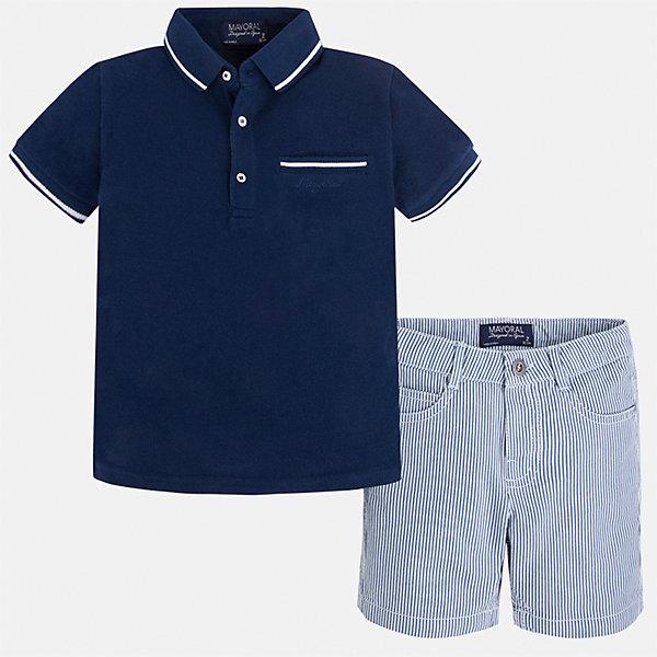 Комплект: футболка-поло и шорты для мальчика MayoralКомплекты<br>Характеристики товара:<br><br>• цвет: синий/голубой<br>• состав: 100% хлопок<br>• комплектация: футболка, шорты<br>• футболка-поло с карманом<br>• отложной воротник, короткие рукава<br>• шорты с карманами<br>• шлевки<br>• пояс регулируется<br>• страна бренда: Испания<br><br>Красивый качественный комплект для мальчика поможет разнообразить гардероб ребенка и удобно одеться в теплую погоду. Он отлично сочетается с другими предметами. Универсальный цвет позволяет подобрать к вещам верхнюю одежду практически любой расцветки. Интересная отделка модели делает её нарядной и оригинальной. В составе материала - только натуральный хлопок, гипоаллергенный, приятный на ощупь, дышащий.<br><br>Одежда, обувь и аксессуары от испанского бренда Mayoral полюбились детям и взрослым по всему миру. Модели этой марки - стильные и удобные. Для их производства используются только безопасные, качественные материалы и фурнитура. Порадуйте ребенка модными и красивыми вещами от Mayoral! <br><br>Комплект для мальчика от испанского бренда Mayoral (Майорал) можно купить в нашем интернет-магазине.<br>Ширина мм: 191; Глубина мм: 10; Высота мм: 175; Вес г: 273; Цвет: синий; Возраст от месяцев: 72; Возраст до месяцев: 84; Пол: Мужской; Возраст: Детский; Размер: 104,134,122,92,128,98,110,116; SKU: 5272756;