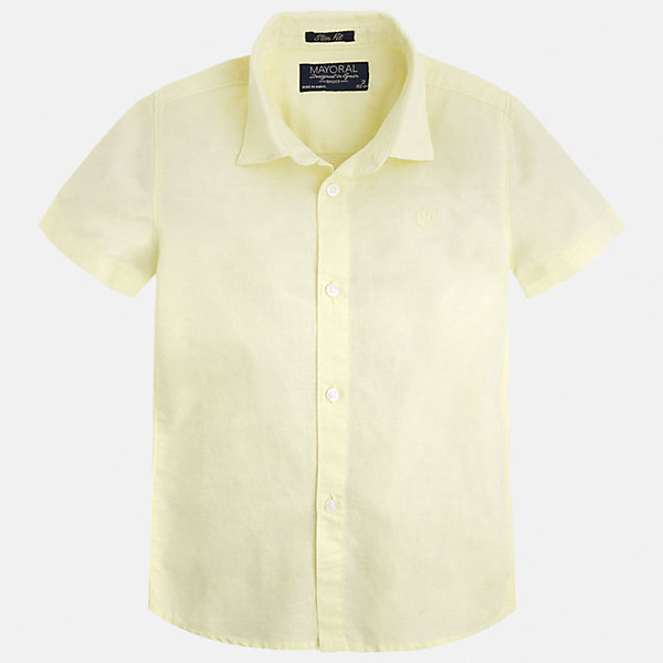 Рубашка для мальчика MayoralБлузки и рубашки<br>Характеристики товара:<br><br>• цвет: желтый<br>• состав: 70% хлопок, 30% лен<br>• отложной воротник<br>• короткие рукава<br>• застежка: пуговицы<br>• вышивка на груди<br>• страна бренда: Испания<br><br>Удобная и модная рубашка для мальчика может стать базовой вещью в гардеробе ребенка. Она отлично сочетается с брюками, шортами, джинсами и т.д. Универсальный крой и цвет позволяет подобрать к вещи низ разных расцветок. Практичное и стильное изделие! В составе материала - натуральный хлопок, гипоаллергенный, приятный на ощупь, дышащий.<br><br>Одежда, обувь и аксессуары от испанского бренда Mayoral полюбились детям и взрослым по всему миру. Модели этой марки - стильные и удобные. Для их производства используются только безопасные, качественные материалы и фурнитура. Порадуйте ребенка модными и красивыми вещами от Mayoral! <br><br>Рубашку для мальчика от испанского бренда Mayoral (Майорал) можно купить в нашем интернет-магазине.<br>Ширина мм: 174; Глубина мм: 10; Высота мм: 169; Вес г: 157; Цвет: желтый; Возраст от месяцев: 18; Возраст до месяцев: 24; Пол: Мужской; Возраст: Детский; Размер: 92,110,98,104,116,122,128,134; SKU: 5277686;