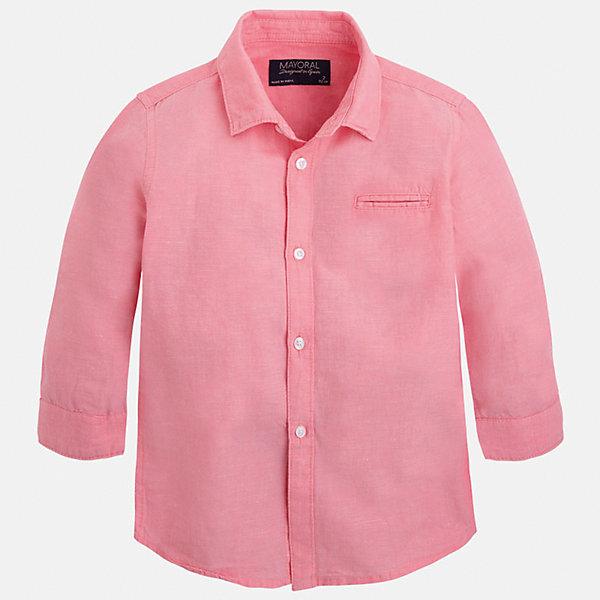 Рубашка для мальчика MayoralБлузки и рубашки<br>Характеристики товара:<br><br>• цвет: розовый<br>• состав: 70% хлопок, 30% лен<br>• отложной воротник<br>• рукава с отворотами<br>• застежка: пуговицы<br>• карман на груди<br>• страна бренда: Испания<br><br>Удобная и модная рубашка для мальчика может стать базовой вещью в гардеробе ребенка. Она отлично сочетается с брюками, шортами, джинсами и т.д. Универсальный крой и цвет позволяет подобрать к вещи низ разных расцветок. Практичное и стильное изделие! В составе материала - натуральный хлопок, гипоаллергенный, приятный на ощупь, дышащий.<br><br>Одежда, обувь и аксессуары от испанского бренда Mayoral полюбились детям и взрослым по всему миру. Модели этой марки - стильные и удобные. Для их производства используются только безопасные, качественные материалы и фурнитура. Порадуйте ребенка модными и красивыми вещами от Mayoral! <br><br>Рубашку для мальчика от испанского бренда Mayoral (Майорал) можно купить в нашем интернет-магазине.<br>Ширина мм: 174; Глубина мм: 10; Высота мм: 169; Вес г: 157; Цвет: розовый; Возраст от месяцев: 60; Возраст до месяцев: 72; Пол: Мужской; Возраст: Детский; Размер: 116,122,128,134,110,92,98,104; SKU: 5277731;