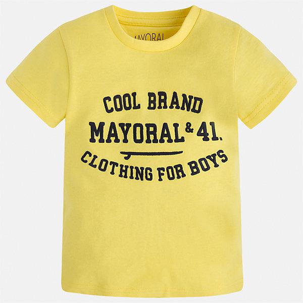 Футболка для мальчика MayoralФутболки, поло и топы<br>Характеристики товара:<br><br>• цвет: желтый<br>• состав: 100% хлопок<br>• мягкая отделка ворота<br>• короткие рукава<br>• округлая горловина<br>• декорирована принтом<br>• страна бренда: Испания<br><br>Стильная удобная футболка для мальчика может стать базовой вещью в гардеробе ребенка. Она отлично сочетается с брюками, шортами, джинсами. Универсальный крой и цвет позволяет подобрать к вещи низ разных расцветок. Практичное и стильное изделие! В составе материала - только натуральный хлопок, гипоаллергенный, приятный на ощупь, дышащий.<br><br>Одежда, обувь и аксессуары от испанского бренда Mayoral полюбились детям и взрослым по всему миру. Модели этой марки - стильные и удобные. Для их производства используются только безопасные, качественные материалы и фурнитура. Порадуйте ребенка модными и красивыми вещами от Mayoral! <br><br>Футболку для мальчика от испанского бренда Mayoral (Майорал) можно купить в нашем интернет-магазине.<br>Ширина мм: 199; Глубина мм: 10; Высота мм: 161; Вес г: 151; Цвет: желтый; Возраст от месяцев: 18; Возраст до месяцев: 24; Пол: Мужской; Возраст: Детский; Размер: 92,98,104,110,116,122,128,134; SKU: 5277839;