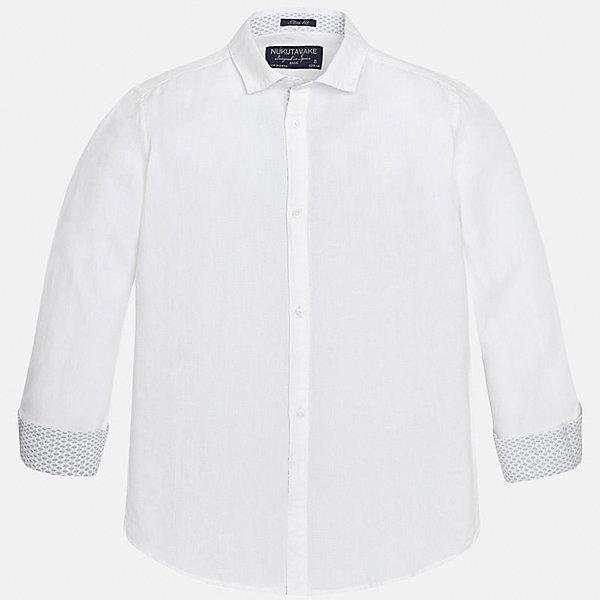 Рубашка для мальчика MayoralБлузки и рубашки<br>Характеристики товара:<br><br>• цвет: белый<br>• состав: 70% хлопок, 30% лен<br>• отложной воротник<br>• рукава с отворотами<br>• застежка: пуговицы<br>• прямой силуэт<br>• страна бренда: Испания<br><br>Удобная рубашка классического кроя для мальчика может стать базовой вещью в гардеробе ребенка. Она отлично сочетается с брюками, шортами, джинсами и т.д. Универсальный крой и цвет позволяет подобрать к вещи низ разных расцветок. Практичное и стильное изделие! В составе материала - натуральный хлопок, гипоаллергенный, приятный на ощупь, дышащий.<br><br>Одежда, обувь и аксессуары от испанского бренда Mayoral полюбились детям и взрослым по всему миру. Модели этой марки - стильные и удобные. Для их производства используются только безопасные, качественные материалы и фурнитура. Порадуйте ребенка модными и красивыми вещами от Mayoral! <br><br>Рубашку для мальчика от испанского бренда Mayoral (Майорал) можно купить в нашем интернет-магазине.<br>Ширина мм: 174; Глубина мм: 10; Высота мм: 169; Вес г: 157; Цвет: белый; Возраст от месяцев: 132; Возраст до месяцев: 144; Пол: Мужской; Возраст: Детский; Размер: 158,170,128/134,140,152,164; SKU: 5278321;