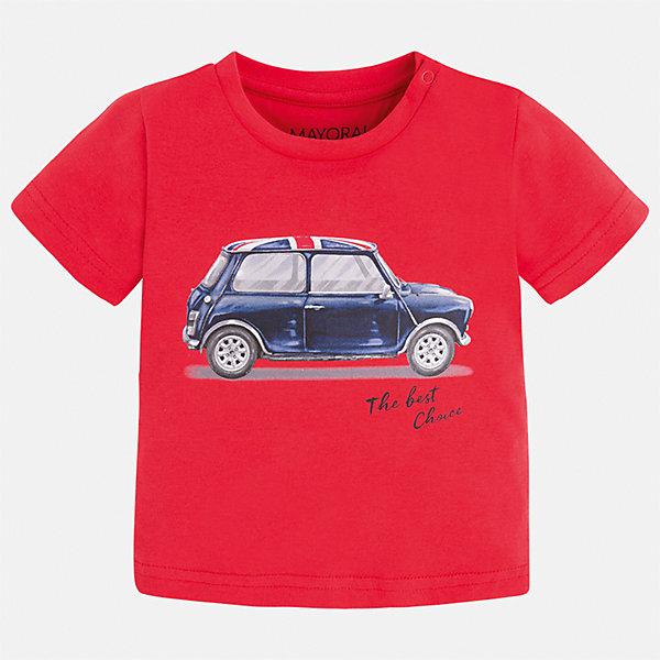Футболка для мальчика MayoralФутболки, топы<br>Характеристики товара:<br><br>• цвет: красный<br>• состав: 100% хлопок<br>• круглый горловой вырез<br>• декорирована принтом<br>• короткие рукава<br>• мягкая отделка горловины<br>• страна бренда: Испания<br><br>Красивая хлопковая футболка с принтом поможет разнообразить гардероб мальчика. Она отлично сочетается с брюками, шортами, джинсами. Универсальный крой и цвет позволяет подобрать к вещи низ разных расцветок. Практичное и стильное изделие! Хорошо смотрится и комфортно сидит на детях. В составе материала - только натуральный хлопок, гипоаллергенный, приятный на ощупь, дышащий. <br><br>Одежда, обувь и аксессуары от испанского бренда Mayoral полюбились детям и взрослым по всему миру. Модели этой марки - стильные и удобные. Для их производства используются только безопасные, качественные материалы и фурнитура. Порадуйте ребенка модными и красивыми вещами от Mayoral! <br><br>Футболку для мальчика от испанского бренда Mayoral (Майорал) можно купить в нашем интернет-магазине.<br>Ширина мм: 199; Глубина мм: 10; Высота мм: 161; Вес г: 151; Цвет: розовый; Возраст от месяцев: 18; Возраст до месяцев: 24; Пол: Мужской; Возраст: Детский; Размер: 92,86,80; SKU: 5278497;