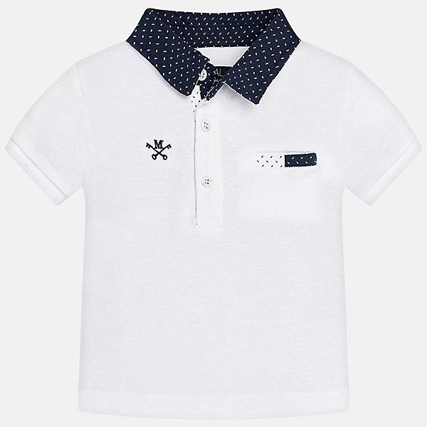 Футболка-поло для мальчика MayoralФутболки, топы<br>Характеристики товара:<br><br>• цвет: белый<br>• состав: 100% хлопок<br>• отложной воротник<br>• короткие рукава<br>• застежка: пуговицы<br>• вышивка и карман на груди<br>• страна бренда: Испания<br><br>Удобная и модная рубашка-поло для мальчика может стать базовой вещью в гардеробе ребенка. Она отлично сочетается с брюками, шортами, джинсами и т.д. Универсальный крой и цвет позволяет подобрать к вещи низ разных расцветок. Практичное и стильное изделие! В составе материала - только натуральный хлопок, гипоаллергенный, приятный на ощупь, дышащий.<br><br>Одежда, обувь и аксессуары от испанского бренда Mayoral полюбились детям и взрослым по всему миру. Модели этой марки - стильные и удобные. Для их производства используются только безопасные, качественные материалы и фурнитура. Порадуйте ребенка модными и красивыми вещами от Mayoral! <br><br>Футболку-поло для мальчика от испанского бренда Mayoral (Майорал) можно купить в нашем интернет-магазине.<br>Ширина мм: 199; Глубина мм: 10; Высота мм: 161; Вес г: 151; Цвет: белый; Возраст от месяцев: 18; Возраст до месяцев: 24; Пол: Мужской; Возраст: Детский; Размер: 92,80,86; SKU: 5278538;