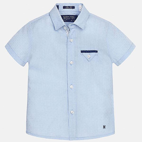 Рубашка для мальчика MayoralОдежда<br>Характеристики товара:<br><br>• цвет: голубой<br>• состав: 100% хлопок<br>• отложной воротник<br>• короткие рукава<br>• застежка: пуговицы<br>• карман на груди<br>• страна бренда: Испания<br><br>Красивая рубашка может отлично дополнить гардероб ребенка. Она хорошо сочетается с брюками, шортами, джинсами и т.д. Универсальный крой и цвет позволяет подобрать к вещи низ разных расцветок. Практичное и стильное изделие! В составе материала - только натуральный хлопок, гипоаллергенный, приятный на ощупь, дышащий.<br><br>Одежда, обувь и аксессуары от испанского бренда Mayoral полюбились детям и взрослым по всему миру. Модели этой марки - стильные и удобные. Для их производства используются только безопасные, качественные материалы и фурнитура. Порадуйте ребенка модными и красивыми вещами от Mayoral! <br><br>Рубашку для мальчика от испанского бренда Mayoral (Майорал) можно купить в нашем интернет-магазине.<br>Ширина мм: 174; Глубина мм: 10; Высота мм: 169; Вес г: 157; Цвет: голубой; Возраст от месяцев: 18; Возраст до месяцев: 24; Пол: Мужской; Возраст: Детский; Размер: 92,80,86; SKU: 5279460;