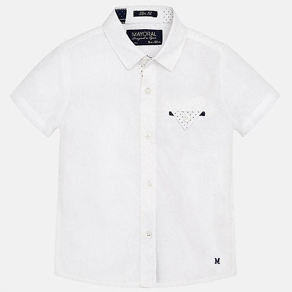 Рубашка для мальчика MayoralБлузки и рубашки<br>Характеристики товара:<br><br>• цвет: белый<br>• состав: 100% хлопок<br>• отложной воротник<br>• короткие рукава<br>• застежка: пуговицы<br>• карман на груди<br>• страна бренда: Испания<br><br>Красивая рубашка может отлично дополнить гардероб ребенка. Она хорошо сочетается с брюками, шортами, джинсами и т.д. Универсальный крой и цвет позволяет подобрать к вещи низ разных расцветок. Практичное и стильное изделие! В составе материала - только натуральный хлопок, гипоаллергенный, приятный на ощупь, дышащий.<br><br>Одежда, обувь и аксессуары от испанского бренда Mayoral полюбились детям и взрослым по всему миру. Модели этой марки - стильные и удобные. Для их производства используются только безопасные, качественные материалы и фурнитура. Порадуйте ребенка модными и красивыми вещами от Mayoral! <br><br>Рубашку для мальчика от испанского бренда Mayoral (Майорал) можно купить в нашем интернет-магазине.<br>Ширина мм: 174; Глубина мм: 10; Высота мм: 169; Вес г: 157; Цвет: белый; Возраст от месяцев: 18; Возраст до месяцев: 24; Пол: Мужской; Возраст: Детский; Размер: 92,80,86; SKU: 5279464;
