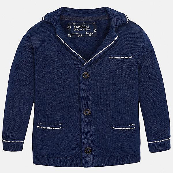 Кардиган для мальчика MayoralОдежда<br>Характеристики товара:<br><br>• цвет: синий<br>• состав: 100% хлопок<br>• рукава длинные <br>• карманы<br>• пуговицы <br>• манжеты<br>• страна бренда: Испания<br><br>Удобный и красивый кардиган для мальчика поможет разнообразить гардероб ребенка и обеспечить тепло. Он отлично сочетается и с джинсами, и с брюками. Универсальный цвет позволяет подобрать к вещи низ различных расцветок. Интересная отделка модели делает её нарядной и оригинальной. В составе материала - только натуральный хлопок, гипоаллергенный, приятный на ощупь, дышащий.<br><br>Одежда, обувь и аксессуары от испанского бренда Mayoral полюбились детям и взрослым по всему миру. Модели этой марки - стильные и удобные. Для их производства используются только безопасные, качественные материалы и фурнитура. Порадуйте ребенка модными и красивыми вещами от Mayoral! <br><br>Кардиган для мальчика от испанского бренда Mayoral (Майорал) можно купить в нашем интернет-магазине.<br>Ширина мм: 174; Глубина мм: 10; Высота мм: 169; Вес г: 157; Цвет: черный; Возраст от месяцев: 6; Возраст до месяцев: 9; Пол: Мужской; Возраст: Детский; Размер: 74,80,92,86; SKU: 5279566;