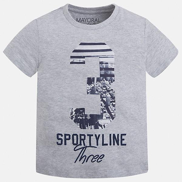 Футболка для мальчика MayoralФутболки, поло и топы<br>Характеристики товара:<br><br>• цвет: серый<br>• состав: 100% хлопок<br>• круглый горловой вырез<br>• декорирована принтом<br>• короткие рукава<br>• отделка горловины<br>• страна бренда: Испания<br><br>Удобная модная футболка с принтом поможет разнообразить гардероб мальчика. Она отлично сочетается с брюками, шортами, джинсами. Универсальный крой и цвет позволяет подобрать к вещи низ разных расцветок. Практичное и стильное изделие! Хорошо смотрится и комфортно сидит на детях. В составе материала - только натуральный хлопок, гипоаллергенный, приятный на ощупь, дышащий. <br><br>Одежда, обувь и аксессуары от испанского бренда Mayoral полюбились детям и взрослым по всему миру. Модели этой марки - стильные и удобные. Для их производства используются только безопасные, качественные материалы и фурнитура. Порадуйте ребенка модными и красивыми вещами от Mayoral! <br><br>Футболку для мальчика от испанского бренда Mayoral (Майорал) можно купить в нашем интернет-магазине.<br>Ширина мм: 199; Глубина мм: 10; Высота мм: 161; Вес г: 151; Цвет: белый; Возраст от месяцев: 18; Возраст до месяцев: 24; Пол: Мужской; Возраст: Детский; Размер: 92,134,98,104,110,116,122,128; SKU: 5280201;