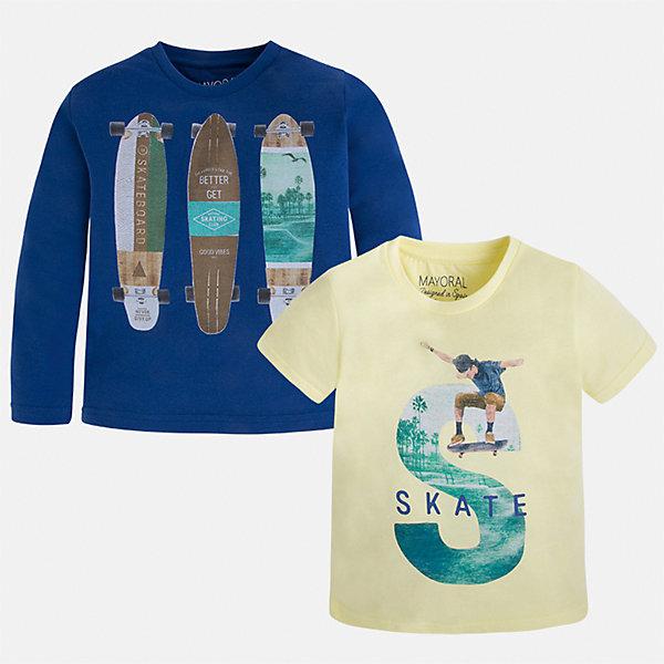 Комплект: футболка и футболка с длинным рукавом для мальчика MayoralФутболки, поло и топы<br>Характеристики товара:<br><br>• цвет: желтый/синий<br>• состав: лонгслив - 100% хлопок; футболка - 60% хлопок, 40% полиэстер<br>• комплектация: футболка и футболка с длинным рукавом <br>• круглый горловой вырез<br>• декорированы принтом<br>• отделка горловины<br>• страна бренда: Испания<br><br>Удобная модная футболка с принтом поможет разнообразить гардероб мальчика. Она отлично сочетается с брюками, шортами, джинсами. Универсальный крой и цвет позволяет подобрать к вещи низ разных расцветок. Практичное и стильное изделие! Хорошо смотрится и комфортно сидит на детях. В составе материала - только натуральный хлопок, гипоаллергенный, приятный на ощупь, дышащий. В комплекте - сразу две стильные вещи!<br><br>Одежда, обувь и аксессуары от испанского бренда Mayoral полюбились детям и взрослым по всему миру. Модели этой марки - стильные и удобные. Для их производства используются только безопасные, качественные материалы и фурнитура. Порадуйте ребенка модными и красивыми вещами от Mayoral! <br><br>Комплект: футболка и футболка с длинным рукавом для мальчика от испанского бренда Mayoral (Майорал) можно купить в нашем интернет-магазине.<br>Ширина мм: 199; Глубина мм: 10; Высота мм: 161; Вес г: 151; Цвет: белый; Возраст от месяцев: 84; Возраст до месяцев: 96; Пол: Мужской; Возраст: Детский; Размер: 128,110,116,134,122,92,98,104; SKU: 5280273;