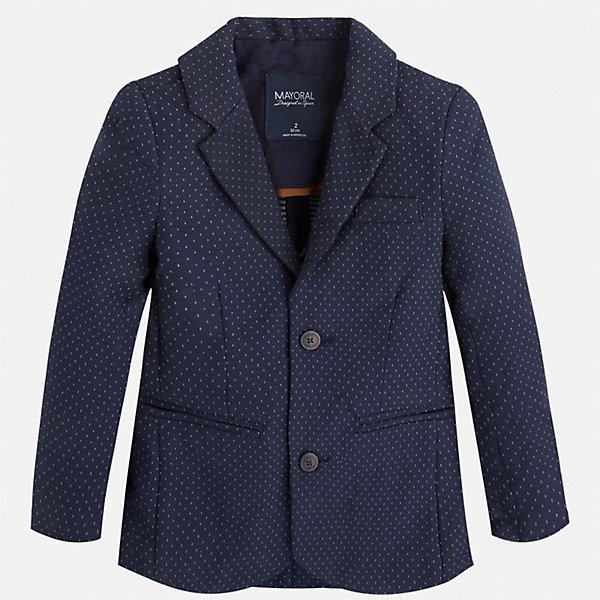 Пиджак для мальчика MayoralОдежда<br>Характеристики товара:<br><br>• цвет: синий<br>• состав: 87% хлопок, 10% полиэстер, 3% эластан<br>• рукава длинные <br>• карманы<br>• пуговицы <br>• отложной воротник<br>• страна бренда: Испания<br><br>Удобный и красивый пиджак для мальчика поможет разнообразить гардероб ребенка и дополнить наряд. Он отлично сочетается с брюками классического кроя. Универсальный цвет позволяет подобрать к вещи низ различных расцветок. Модное и элегантное изделие. В составе материала - натуральный хлопок, гипоаллергенный, приятный на ощупь, дышащий.<br><br>Одежда, обувь и аксессуары от испанского бренда Mayoral полюбились детям и взрослым по всему миру. Модели этой марки - стильные и удобные. Для их производства используются только безопасные, качественные материалы и фурнитура. Порадуйте ребенка модными и красивыми вещами от Mayoral! <br><br>Пиджак для мальчика от испанского бренда Mayoral (Майорал) можно купить в нашем интернет-магазине.<br>Ширина мм: 174; Глубина мм: 10; Высота мм: 169; Вес г: 157; Цвет: синий; Возраст от месяцев: 24; Возраст до месяцев: 36; Пол: Мужской; Возраст: Детский; Размер: 98,110,104,116,122,128,134,92; SKU: 5280486;