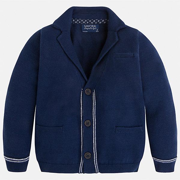Кардиган для мальчика MayoralНарядная одежда<br>Характеристики товара:<br><br>• цвет: синий<br>• состав: 100% хлопок<br>• рукава длинные <br>• карманы<br>• пуговицы <br>• отложной воротник<br>• страна бренда: Испания<br><br>Удобный и красивый кардиган для мальчика поможет разнообразить гардероб ребенка и обеспечить тепло. Он отлично сочетается и с джинсами, и с брюками. Универсальный цвет позволяет подобрать к вещи низ различных расцветок. Интересная отделка модели делает её нарядной и оригинальной. В составе материала - только натуральный хлопок, гипоаллергенный, приятный на ощупь, дышащий.<br><br>Одежда, обувь и аксессуары от испанского бренда Mayoral полюбились детям и взрослым по всему миру. Модели этой марки - стильные и удобные. Для их производства используются только безопасные, качественные материалы и фурнитура. Порадуйте ребенка модными и красивыми вещами от Mayoral! <br><br>Кардиган для мальчика от испанского бренда Mayoral (Майорал) можно купить в нашем интернет-магазине.<br>Ширина мм: 174; Глубина мм: 10; Высота мм: 169; Вес г: 157; Цвет: синий; Возраст от месяцев: 18; Возраст до месяцев: 24; Пол: Мужской; Возраст: Детский; Размер: 92,134,110,98,104,116,122,128; SKU: 5280504;