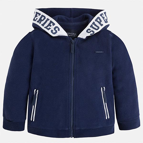 Куртка для мальчика MayoralТолстовки<br>Характеристики товара:<br><br>• цвет: синий<br>• состав: 100% хлопок<br>• манжеты<br>• карманы<br>• молния<br>• капюшон<br>• страна бренда: Испания<br><br>Легкая куртка для мальчика поможет разнообразить гардероб ребенка и обеспечить тепло в прохладную погоду. Она отлично сочетается и с джинсами, и с брюками. Универсальный цвет позволяет подобрать к вещи низ различных расцветок. Интересная отделка модели делает её нарядной и оригинальной. В составе материала - только натуральный хлопок, гипоаллергенный, приятный на ощупь, дышащий.<br><br>Одежда, обувь и аксессуары от испанского бренда Mayoral полюбились детям и взрослым по всему миру. Модели этой марки - стильные и удобные. Для их производства используются только безопасные, качественные материалы и фурнитура. Порадуйте ребенка модными и красивыми вещами от Mayoral! <br><br>Куртку для мальчика от испанского бренда Mayoral (Майорал) можно купить в нашем интернет-магазине.<br>Ширина мм: 356; Глубина мм: 10; Высота мм: 245; Вес г: 519; Цвет: синий; Возраст от месяцев: 24; Возраст до месяцев: 36; Пол: Мужской; Возраст: Детский; Размер: 98,110,92,134,122,104,128,116; SKU: 5280639;