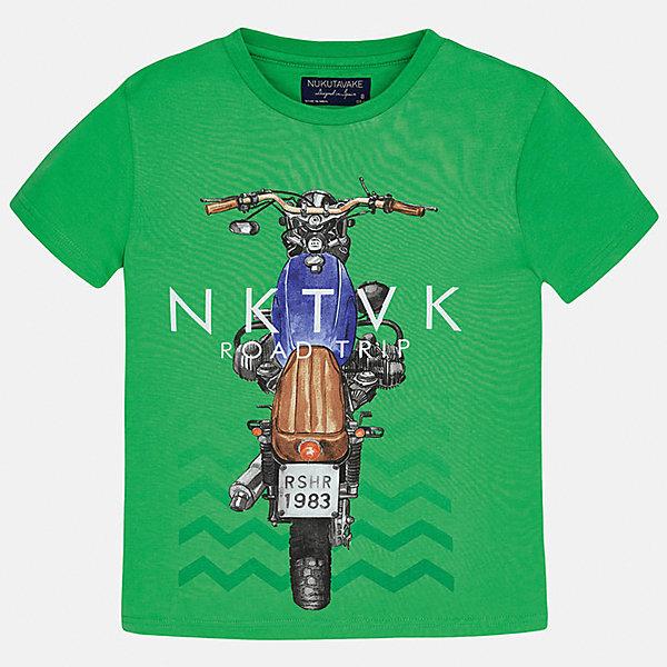 Футболка для мальчика MayoralФутболки, поло и топы<br>Характеристики товара:<br><br>• цвет: зеленый<br>• состав: 100% хлопок<br>• круглый горловой вырез<br>• декорирована принтом<br>• короткие рукава<br>• мягкая отделка горловины<br>• страна бренда: Испания<br><br>Модная удобная футболка с принтом поможет разнообразить гардероб мальчика. Она отлично сочетается с брюками, шортами, джинсами. Универсальный крой и цвет позволяет подобрать к вещи низ разных расцветок. Практичное и стильное изделие! Хорошо смотрится и комфортно сидит на детях. В составе материала - только натуральный хлопок, гипоаллергенный, приятный на ощупь, дышащий. <br><br>Одежда, обувь и аксессуары от испанского бренда Mayoral полюбились детям и взрослым по всему миру. Модели этой марки - стильные и удобные. Для их производства используются только безопасные, качественные материалы и фурнитура. Порадуйте ребенка модными и красивыми вещами от Mayoral! <br><br>Футболку для мальчика от испанского бренда Mayoral (Майорал) можно купить в нашем интернет-магазине.<br>Ширина мм: 199; Глубина мм: 10; Высота мм: 161; Вес г: 151; Цвет: зеленый; Возраст от месяцев: 144; Возраст до месяцев: 156; Пол: Мужской; Возраст: Детский; Размер: 164,170,128/134,140,152,158; SKU: 5281258;