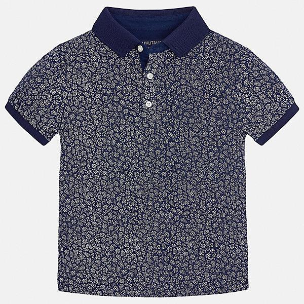 Футболка-поло для мальчика MayoralФутболки, поло и топы<br>Характеристики товара:<br><br>• цвет: синий<br>• состав: 100% хлопок<br>• отложной воротник<br>• декорирована принтом<br>• короткие рукава<br>• застежки: пуговицы<br>• страна бренда: Испания<br><br>Удобная стильная рубашка-поло поможет разнообразить гардероб мальчика. Она отлично сочетается с брюками, шортами, джинсами. Универсальный крой и цвет позволяет подобрать к вещи низ разных расцветок. Практичное и стильное изделие! Хорошо смотрится и комфортно сидит на детях. В составе материала - только натуральный хлопок, гипоаллергенный, приятный на ощупь, дышащий. <br><br>Одежда, обувь и аксессуары от испанского бренда Mayoral полюбились детям и взрослым по всему миру. Модели этой марки - стильные и удобные. Для их производства используются только безопасные, качественные материалы и фурнитура. Порадуйте ребенка модными и красивыми вещами от Mayoral! <br><br>Рубашку-поло для мальчика от испанского бренда Mayoral (Майорал) можно купить в нашем интернет-магазине.<br>Ширина мм: 230; Глубина мм: 40; Высота мм: 220; Вес г: 250; Цвет: синий; Возраст от месяцев: 84; Возраст до месяцев: 96; Пол: Мужской; Возраст: Детский; Размер: 128/134,164,152,170,158,140; SKU: 5281524;