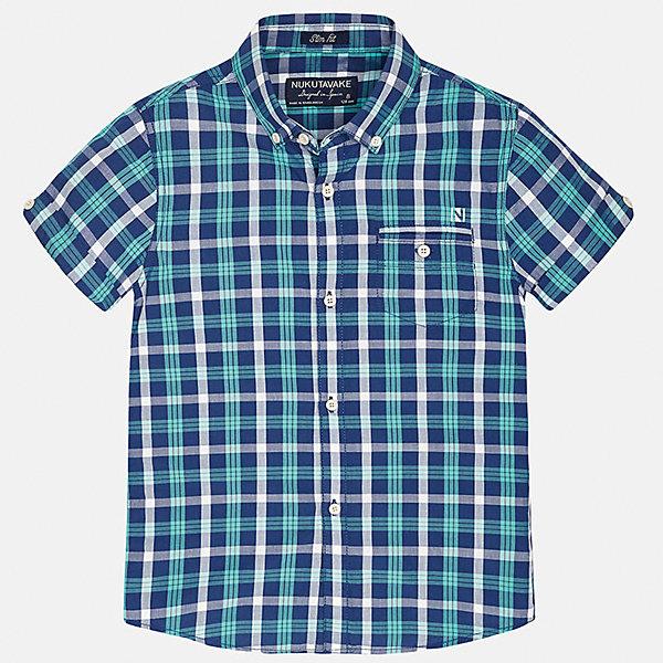 Рубашка для мальчика MayoralБлузки и рубашки<br>Характеристики товара:<br><br>• цвет: сине-зеленый в клетку<br>• состав: 100% хлопок<br>• отложной воротник<br>• декорирована карманом на груди<br>• короткие рукава<br>• застежки: пуговицы<br>• страна бренда: Испания<br><br>Модная рубашка поможет разнообразить гардероб мальчика. Она отлично сочетается с брюками, шортами, джинсами. Универсальный крой и цвет позволяет подобрать к вещи низ разных расцветок. Практичное и стильное изделие! Хорошо смотрится и комфортно сидит на детях. В составе материала - только натуральный хлопок, гипоаллергенный, приятный на ощупь, дышащий. <br><br>Одежда, обувь и аксессуары от испанского бренда Mayoral полюбились детям и взрослым по всему миру. Модели этой марки - стильные и удобные. Для их производства используются только безопасные, качественные материалы и фурнитура. Порадуйте ребенка модными и красивыми вещами от Mayoral! <br><br>Рубашку для мальчика от испанского бренда Mayoral (Майорал) можно купить в нашем интернет-магазине.<br>Ширина мм: 174; Глубина мм: 10; Высота мм: 169; Вес г: 157; Цвет: синий; Возраст от месяцев: 96; Возраст до месяцев: 108; Пол: Мужской; Возраст: Детский; Размер: 140,170,128/134,152,158,164; SKU: 5281617;