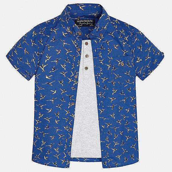 Рубашка для мальчика MayoralБлузки и рубашки<br>Характеристики товара:<br><br>• цвет: синий/серый<br>• состав: 100% хлопок<br>• отложной воротник<br>• декорирована карманом на груди<br>• короткие рукава<br>• застежки: пуговицы<br>• страна бренда: Испания<br><br>Модная рубашка поможет разнообразить гардероб мальчика. Она отлично сочетается с брюками, шортами, джинсами. Универсальный крой и цвет позволяет подобрать к вещи низ разных расцветок. Практичное и стильное изделие! Хорошо смотрится и комфортно сидит на детях. В составе материала - только натуральный хлопок, гипоаллергенный, приятный на ощупь, дышащий. <br><br>Одежда, обувь и аксессуары от испанского бренда Mayoral полюбились детям и взрослым по всему миру. Модели этой марки - стильные и удобные. Для их производства используются только безопасные, качественные материалы и фурнитура. Порадуйте ребенка модными и красивыми вещами от Mayoral! <br><br>Рубашку для мальчика от испанского бренда Mayoral (Майорал) можно купить в нашем интернет-магазине.<br>Ширина мм: 174; Глубина мм: 10; Высота мм: 169; Вес г: 157; Цвет: серый; Возраст от месяцев: 144; Возраст до месяцев: 156; Пол: Мужской; Возраст: Детский; Размер: 164,152,128/134,170,140,158; SKU: 5281631;