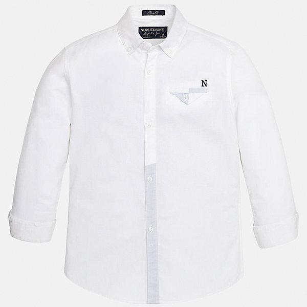 Рубашка для мальчика MayoralОдежда<br>Характеристики товара:<br><br>• цвет: белый<br>• состав: 100% хлопок<br>• отложной воротник<br>• декорирована карманом на груди<br>• рукава с отворотами<br>• застежки: пуговицы<br>• страна бренда: Испания<br><br>Модная рубашка поможет разнообразить гардероб мальчика. Она отлично сочетается с брюками, шортами, джинсами. Универсальный крой и цвет позволяет подобрать к вещи низ разных расцветок. Практичное и стильное изделие! Хорошо смотрится и комфортно сидит на детях. В составе материала - только натуральный хлопок, гипоаллергенный, приятный на ощупь, дышащий. <br><br>Одежда, обувь и аксессуары от испанского бренда Mayoral полюбились детям и взрослым по всему миру. Модели этой марки - стильные и удобные. Для их производства используются только безопасные, качественные материалы и фурнитура. Порадуйте ребенка модными и красивыми вещами от Mayoral! <br><br>Рубашку для мальчика от испанского бренда Mayoral (Майорал) можно купить в нашем интернет-магазине.<br>Ширина мм: 174; Глубина мм: 10; Высота мм: 169; Вес г: 157; Цвет: белый; Возраст от месяцев: 120; Возраст до месяцев: 132; Пол: Мужской; Возраст: Детский; Размер: 152,140,128/134,158,164,170; SKU: 5281638;
