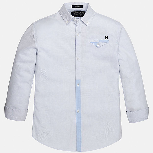 Рубашка для мальчика MayoralОдежда<br>Характеристики товара:<br><br>• цвет: голубой<br>• состав: 100% хлопок<br>• отложной воротник<br>• декорирована карманом на груди<br>• рукава с отворотами<br>• застежки: пуговицы<br>• страна бренда: Испания<br><br>Модная рубашка поможет разнообразить гардероб мальчика. Она отлично сочетается с брюками, шортами, джинсами. Универсальный крой и цвет позволяет подобрать к вещи низ разных расцветок. Практичное и стильное изделие! Хорошо смотрится и комфортно сидит на детях. В составе материала - только натуральный хлопок, гипоаллергенный, приятный на ощупь, дышащий. <br><br>Одежда, обувь и аксессуары от испанского бренда Mayoral полюбились детям и взрослым по всему миру. Модели этой марки - стильные и удобные. Для их производства используются только безопасные, качественные материалы и фурнитура. Порадуйте ребенка модными и красивыми вещами от Mayoral! <br><br>Рубашку для мальчика от испанского бренда Mayoral (Майорал) можно купить в нашем интернет-магазине.<br>Ширина мм: 174; Глубина мм: 10; Высота мм: 169; Вес г: 157; Цвет: голубой; Возраст от месяцев: 120; Возраст до месяцев: 132; Пол: Мужской; Возраст: Детский; Размер: 152,140,158,164,128/134,170; SKU: 5281645;