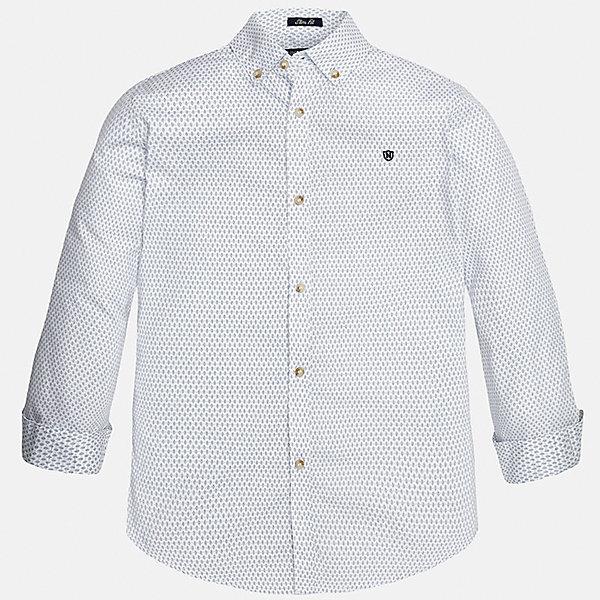 Рубашка для мальчика MayoralБлузки и рубашки<br>Характеристики товара:<br><br>• цвет: белый<br>• состав: 100% хлопок<br>• отложной воротник<br>• декорирована вышивкой на груди<br>• рукава с отворотами<br>• застежки: пуговицы<br>• страна бренда: Испания<br><br>Модная рубашка поможет разнообразить гардероб мальчика. Она отлично сочетается с брюками, шортами, джинсами. Универсальный крой и цвет позволяет подобрать к вещи низ разных расцветок. Практичное и стильное изделие! Хорошо смотрится и комфортно сидит на детях. В составе материала - только натуральный хлопок, гипоаллергенный, приятный на ощупь, дышащий. <br><br>Одежда, обувь и аксессуары от испанского бренда Mayoral полюбились детям и взрослым по всему миру. Модели этой марки - стильные и удобные. Для их производства используются только безопасные, качественные материалы и фурнитура. Порадуйте ребенка модными и красивыми вещами от Mayoral! <br><br>Рубашку для мальчика от испанского бренда Mayoral (Майорал) можно купить в нашем интернет-магазине.<br>Ширина мм: 174; Глубина мм: 10; Высота мм: 169; Вес г: 157; Цвет: белый; Возраст от месяцев: 144; Возраст до месяцев: 156; Пол: Мужской; Возраст: Детский; Размер: 164,128/134,140,158,170,152; SKU: 5281666;