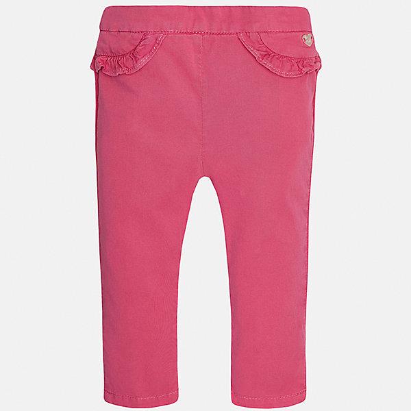 Брюки для девочки MayoralДжинсы и брючки<br>Характеристики товара:<br><br>• цвет: розовый<br>• состав: 98% хлопок, 2% эластан<br>• оборки возле на талии<br>• логотип<br>• интересный крой<br>• яркий цвет<br>• страна бренда: Испания<br><br>Модные оригинальные брюки для девочки смогут разнообразить гардероб ребенка и украсить наряд. Они отлично сочетаются с майками, футболками, блузками. Красивый оттенок позволяет подобрать к вещи верх разных расцветок. Интересный крой модели делает её нарядной и оригинальной. <br><br>Одежда, обувь и аксессуары от испанского бренда Mayoral полюбились детям и взрослым по всему миру. Модели этой марки - стильные и удобные. Для их производства используются только безопасные, качественные материалы и фурнитура. Порадуйте ребенка модными и красивыми вещами от Mayoral! <br><br>Брюки для девочки от испанского бренда Mayoral (Майорал) можно купить в нашем интернет-магазине.<br>Ширина мм: 215; Глубина мм: 88; Высота мм: 191; Вес г: 336; Цвет: розовый; Возраст от месяцев: 6; Возраст до месяцев: 9; Пол: Женский; Возраст: Детский; Размер: 74,92,86,80; SKU: 5288981;