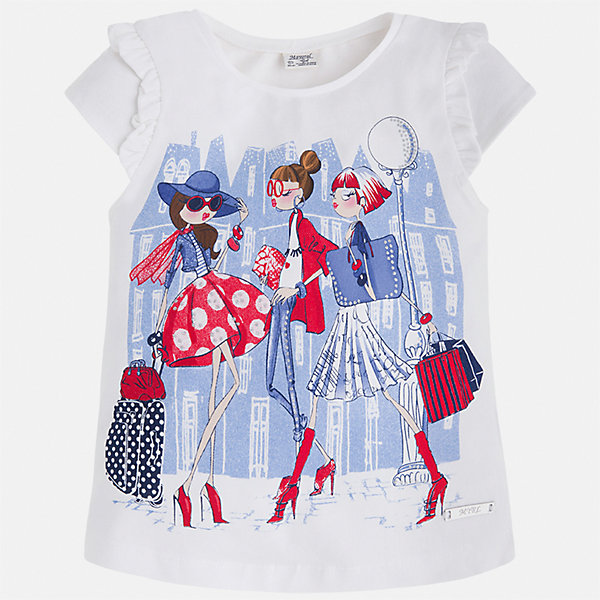Футболка для девочки MayoralФутболки, поло и топы<br>Характеристики товара:<br><br>• цвет: белый<br>• состав: 98% хлопок, 2% эластан<br>• принт<br>• оборки на рукавах<br>• короткие рукава<br>• округлый горловой вырез<br>• страна бренда: Испания<br><br>Стильная качественная футболка для девочки поможет разнообразить гардероб ребенка и украсить наряд. Она отлично сочетается и с юбками, и с шортами, и с брюками. Универсальный цвет позволяет подобрать к вещи низ практически любой расцветки. Интересная отделка модели делает её нарядной и оригинальной. В составе ткани преобладает натуральный хлопок, гипоаллергенный, приятный на ощупь, дышащий.<br><br>Одежда, обувь и аксессуары от испанского бренда Mayoral полюбились детям и взрослым по всему миру. Модели этой марки - стильные и удобные. Для их производства используются только безопасные, качественные материалы и фурнитура. Порадуйте ребенка модными и красивыми вещами от Mayoral! <br><br>Футболку для девочки от испанского бренда Mayoral (Майорал) можно купить в нашем интернет-магазине.<br>Ширина мм: 199; Глубина мм: 10; Высота мм: 161; Вес г: 151; Цвет: красный; Возраст от месяцев: 18; Возраст до месяцев: 24; Пол: Женский; Возраст: Детский; Размер: 92,134,128,122,116,110,104,98; SKU: 5289307;
