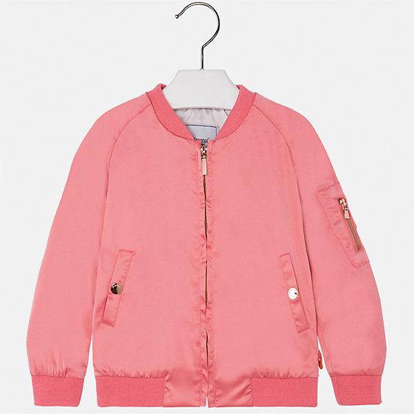 Куртка для девочки MayoralВерхняя одежда<br>Характеристики товара:<br><br>• цвет: розовый<br>• состав: 97% полиэстер, 3% эластан<br>• застежка: молния<br>• карманы<br>• с длинными рукавами <br>• манжеты<br>• низ - трикотажная резинка<br>• страна бренда: Испания<br><br>Модная удобная куртка для девочки поможет разнообразить гардероб ребенка и обеспечить тепло в прохладную погоду. Она отлично сочетается и с юбками, и с брюками. Красивый цвет позволяет подобрать к вещи низ различных расцветок. Интересная отделка модели делает её нарядной и стильной. <br><br>Одежда, обувь и аксессуары от испанского бренда Mayoral полюбились детям и взрослым по всему миру. Модели этой марки - стильные и удобные. Для их производства используются только безопасные, качественные материалы и фурнитура. Порадуйте ребенка модными и красивыми вещами от Mayoral! <br><br>Куртку для девочки от испанского бренда Mayoral (Майорал) можно купить в нашем интернет-магазине.<br>Ширина мм: 356; Глубина мм: 10; Высота мм: 245; Вес г: 519; Цвет: розовый; Возраст от месяцев: 60; Возраст до месяцев: 72; Пол: Женский; Возраст: Детский; Размер: 116,134,128,122,110,104,98,92; SKU: 5290260;