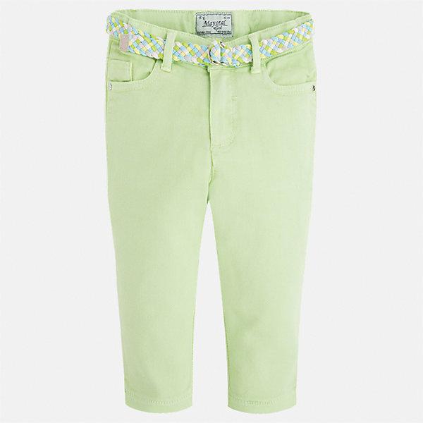 Брюки для девочки MayoralБрюки<br>Характеристики товара:<br><br>• цвет: зеленый<br>• состав: 98% хлопок, 2% эластан<br>• шлевки<br>• карманы<br>• пояс с регулировкой объема<br>• пастельный оттенок<br>• страна бренда: Испания<br><br>Модные легкие брюки для девочки смогут разнообразить гардероб ребенка и украсить наряд. Они отлично сочетаются с майками, футболками, блузками. Красивый оттенок позволяет подобрать к вещи верх разных расцветок. Интересный крой модели делает её нарядной и оригинальной. В составе материала - натуральный хлопок, гипоаллергенный, приятный на ощупь, дышащий.<br><br>Одежда, обувь и аксессуары от испанского бренда Mayoral полюбились детям и взрослым по всему миру. Модели этой марки - стильные и удобные. Для их производства используются только безопасные, качественные материалы и фурнитура. Порадуйте ребенка модными и красивыми вещами от Mayoral! <br><br>Брюки для девочки от испанского бренда Mayoral (Майорал) можно купить в нашем интернет-магазине.<br>Ширина мм: 215; Глубина мм: 88; Высота мм: 191; Вес г: 336; Цвет: зеленый; Возраст от месяцев: 72; Возраст до месяцев: 84; Пол: Женский; Возраст: Детский; Размер: 122,92,134,128,116,110,104,98; SKU: 5290305;