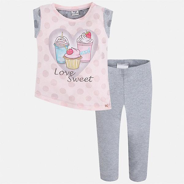 Комплект: футболка и бриджи для девочки MayoralКомплекты<br>Характеристики товара:<br><br>• цвет: серый/розовый<br>• состав: 55% хлопок, 45% полиэстер<br>• комплектация: футболка, бриджи<br>• футболка декорирована принтом<br>• бриджи в клетку<br>• пояс на резинке<br>• страна бренда: Испания<br><br>Красивый качественный комплект для девочки поможет разнообразить гардероб ребенка и удобно одеться в теплую погоду. Он отлично сочетается с другими предметами. Универсальный цвет позволяет подобрать к вещам верхнюю одежду практически любой расцветки. Интересная отделка модели делает её нарядной и оригинальной. В составе материала - натуральный хлопок, гипоаллергенный, приятный на ощупь, дышащий.<br><br>Одежда, обувь и аксессуары от испанского бренда Mayoral полюбились детям и взрослым по всему миру. Модели этой марки - стильные и удобные. Для их производства используются только безопасные, качественные материалы и фурнитура. Порадуйте ребенка модными и красивыми вещами от Mayoral! <br><br>Комплект для девочки от испанского бренда Mayoral (Майорал) можно купить в нашем интернет-магазине.<br>Ширина мм: 191; Глубина мм: 10; Высота мм: 175; Вес г: 273; Цвет: серый; Возраст от месяцев: 18; Возраст до месяцев: 24; Пол: Женский; Возраст: Детский; Размер: 92,134,128,122,116,110,104,98; SKU: 5290389;